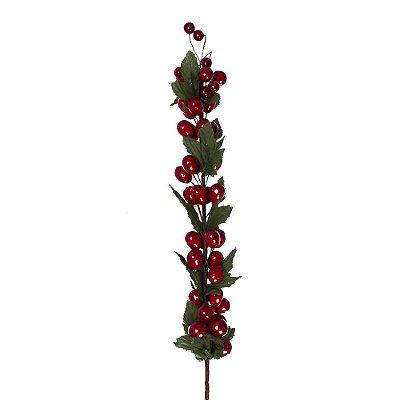 Galho longo berries vermelhos e folhas G200629