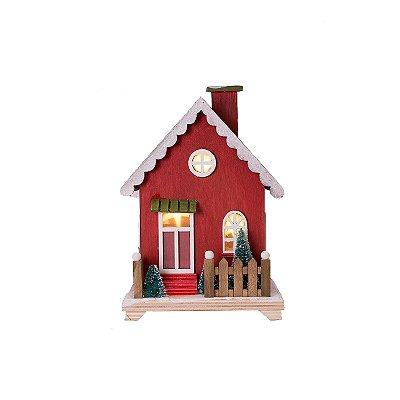 Casinha em madeira 1andar vermelha com Led F359783