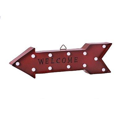 Flecha Welcome vermelha em metal com Led F359799