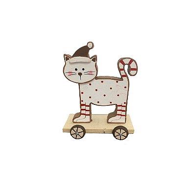 Gatinho no skate branco c/vermelho em madeira M F359801