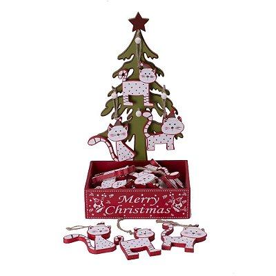 Display Árvore com 24 Gatinhos para Pendurar Verde e Vermelho