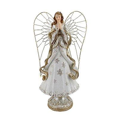Anjo em poliresina com asas iluminadas branco e dourado F359984