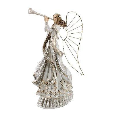 Anjo em poliresina com asas iluminadas e trombeta branco e dourado F359986