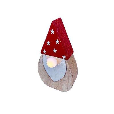 Papai noel M c/ touca estrela led em madeira F350794