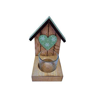 Porta vela c/ casinha natural/verde coração em madeira F350850