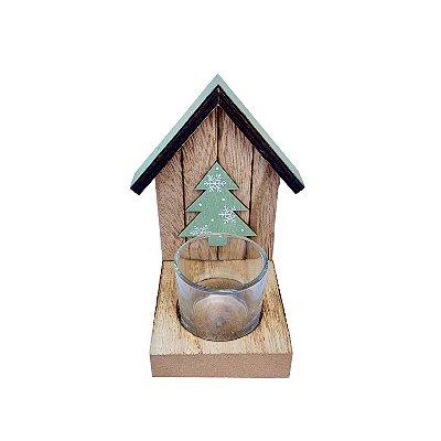 Porta vela c/ casinha natural/verde arvore em madeira F350851
