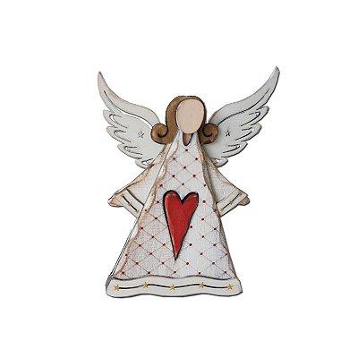 Anjo em madeira branco com coração vermelho F350864