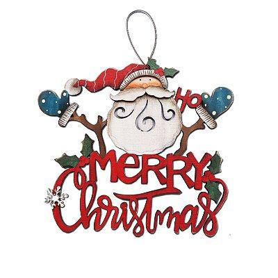 Placa merry christmas vermelha com papai noel em madeira F350865