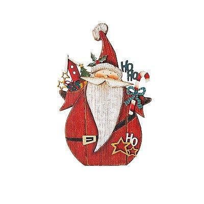 Noel em madeira vermelho com casinhas e hohoho F350870
