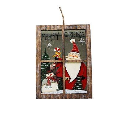 Janela rustica em madeira com boneco de neve e papai noel F350878