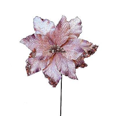 Poinsetia rosê degradê veludo com pedrarias G200742