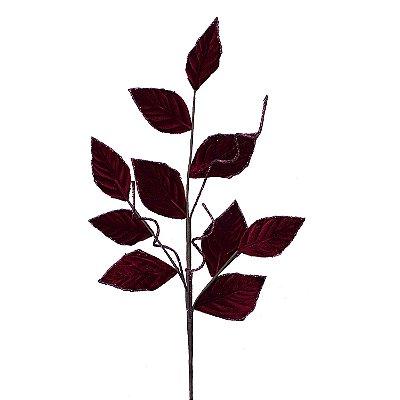 Galhos com folhas de veludo borgandy G200754