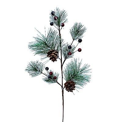 Galho verde nevado com berries vermelhas e pinhas G200758