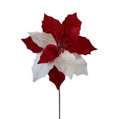 Poinsetia juta natural e veludo vermelho G200763