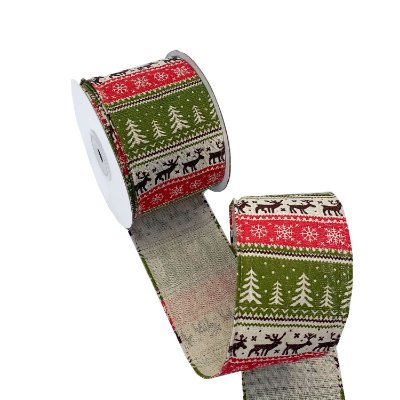 Fita aramada motivos natal branca, vermelha e verde A100675