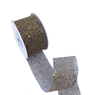 Fita telada Champagne com glitter A100678