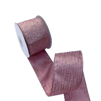 Fita aramada rosa com salpiques gliterados A100695