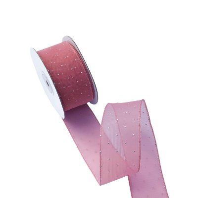 Fita em organza rose com poá prata A100708