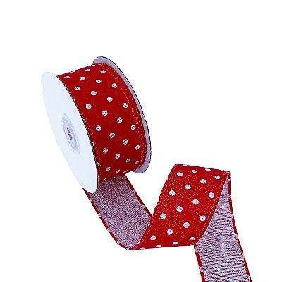 Fita linho aramada vermelho com poá branco A100719