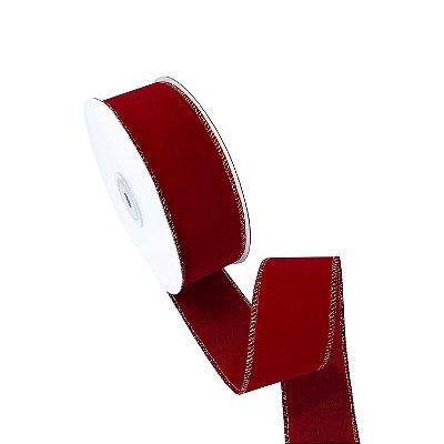 Fita em veludo vermelho com borda ouro A100729