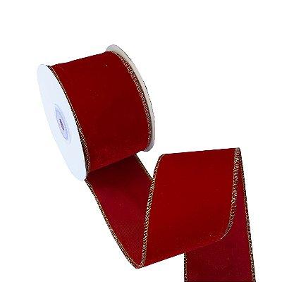 Fita aramada veludo vermelho com borda ouro A100730
