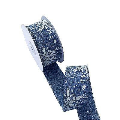 Fita aramada jeans com design neve A100731