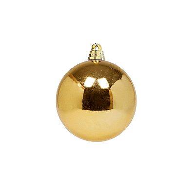 Bola ouro brilho 8cm com 4 unidades