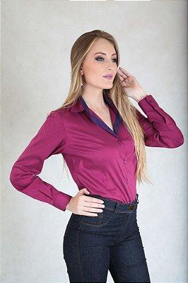 Camisa Feminina Social Slim Burgunduy