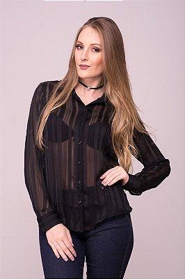 Camisa Feminina Chiffon Listrada Preta