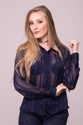Camisa Feminina Chiffon Listrado Azul Marinho
