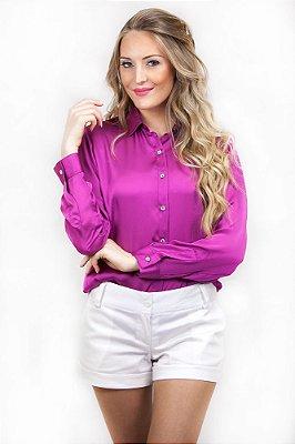 Camisa Feminina Social de Cetim Silk Orquídea