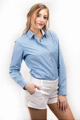 Camisa Feminina Social de Manga Longa Listrada Azul e Lilás