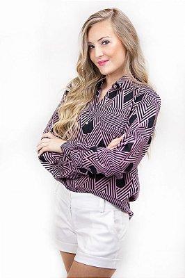 Camisa Social Estampada Africa Rosa