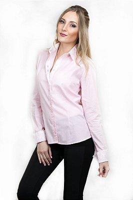 Camisa Social Feminina Listrada Rosa