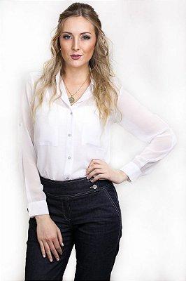 Camisa Social Chiffon Lisa Militar Off White