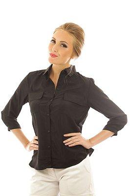 Camisa Social Chiffon Lisa Militar Preta