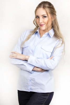 Camisa Social Feminina Social Ralph Azul