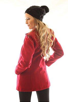 Casaco Feminino de Lã Vermelho