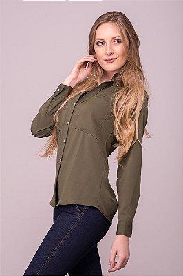 Camisa Feminina Gola Padre Verde Militar