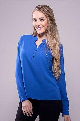 Camisa Bata Botões Pérola Azul