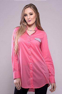 Camisa Alongada Rosa
