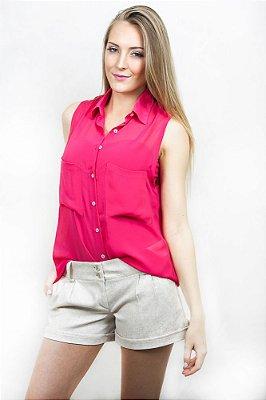 Camisa Rosa Voil sem Manga