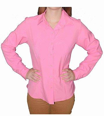 Camisa Rosa Clássica Prática (amassa pouco)