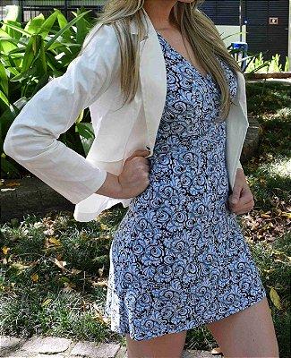 Vestido de Malha Fria Estampado Azul Claro