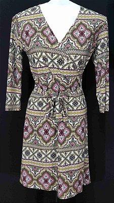 Vestido de Malha Fria Estampado Caleidoscopio