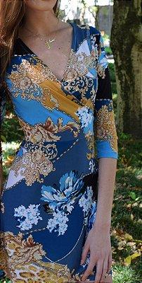 Vestido de Malha Fria Estampado Azul Floral