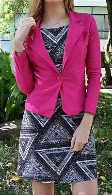 Vestido de Malha Fria Estampado Geométrico