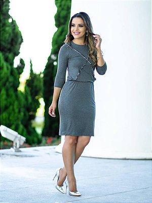 Vestido em Malha Cinza Mescla com Aplicação Frontal - Moda Executiva Evangélica