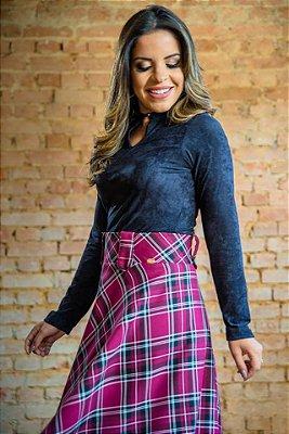 Saia Midi Xadrez Rosa com Zíper - Moda Executiva evangélica