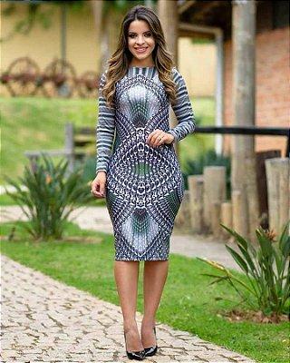 Vestido Marina Tubinho Forrado com Estampa Centralizada - Moda Executiva Evangélica